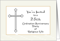 25th Anniversary Invitation of Religious Life-Silver Jubilee-Cross card