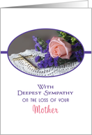 Loss of Mother Sympathy Card-Soft Pink Rose and Gold Cross card