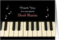 For Church Musician Thank You Greeting Card-Pianist-Organist-Keyboard card