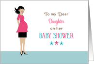 For Daughter Baby Shower Greeting Card-Retro Girl-Pink Top-Black Skirt card