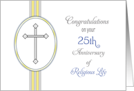 25th Ordination Anniversary Congratulations Card-Religious Life-Cross card