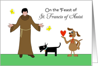 St. Francis of Assisi Feast Day Card-Dogs, Butterflies and Heart card