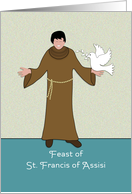 St. Francis of Assisi Feast Day Card-St. Francis and White Dove card