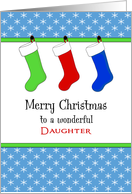 For Daughter Christmas Card-Christmas Stockings & Snowflakes card