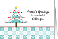 For Colleague / Co-Worker Christmas Card-Christmas Tree-Snowflakes card