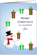 For Son Christmas Card-Snowman-Circle of Christmas Presents card