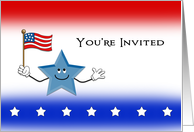 Fourth of July-4th of July Party Invitation Greeting Card-US Flag card