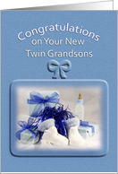 For Twin Grandsons Congratulations Greeting Card-Baby Bottle-Booties card