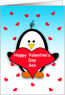 For Son Happy Valentine's Day Greeting Card-Penguin Holding Heart card