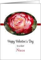 For Niece Valentine's Day Greeting Card with Red and White Rose card