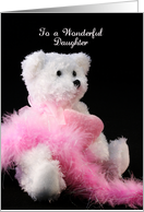 For Daughter Valentine's Day Greeting Card-Bear-Feather Boa card