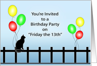 Birthday Card-Friday the 13th-Invitation-Black Cat and Balloons card