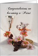 Congratulations on becoming a Priest Greeting Card-Chalice Grapes card