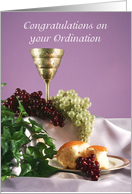 Congratulations on your Ordination Greeting Card-Chalice-Grapes-Bread card
