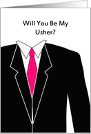For Usher Be My Usher Wedding Request Invitation Greeting Card-Suit card