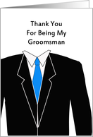 For Groomsmen Thank You Greeting Card-Tux-Suit-Blue Tie card