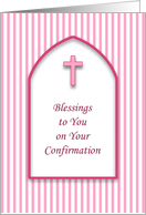 Confirmation Greeting Card with Pink Stripes and Pink Cross card