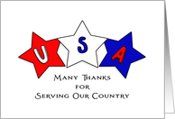 Military Service Thank You Greeting Card-Patriotic Star-Red-White-Blue card