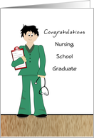 Male Nursing School Graduation Greeting Card-Stehoscope-Clip Board card