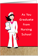 Nursing School Graduation Card for Female-Retro Girl-Clip Board card