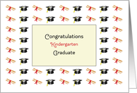 Kindergarten Graduation Greeting Card-Diplomas-Graduation Caps card