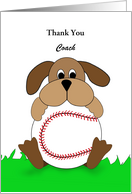 Thank You Greeting Card for Coach-Dog-Baseball-Customizable Text card