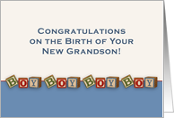 Congratulations New Grandson Greeting Card with Boy Baby Blocks card