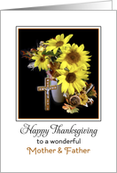 For Mom and Dad Thanksgiving Greeting Card with Sunflowers and Cross card