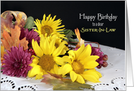 For Sister-In-Law Birthday Greeting Card with Yellow Flowers card