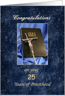 Priesthood 25 Year Anniversary Greeting Card-Silver Jubilee-Bible card