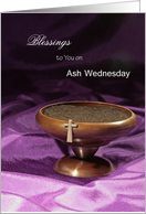 Ash Wednesday Greeting Card with Wooden Bowl of Ashes and Silver Cross card