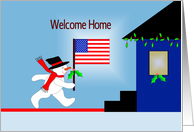 Welcome Home Soldier Greeting Card with Snowman Holding American Flag card