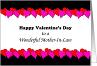 For Mother-In-Law Valentine's Day Greeting Card-Pink Red Heart Border card