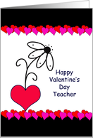 For Teacher Happy Valentine's Day Greeting Card-Flower in Heart card