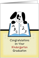 Kindergarten Graduation Greeting Card-Puppy Dog on Open Book card