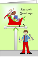 From Auto Mechanic Christmas Greeting Card with Sleigh and Reindeer card