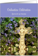 Ordination Celebration Invitation Greeting Card-Cross Reflection card