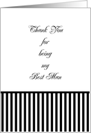 Best Man Thank You Card, black & white stripe card