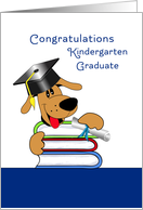 Kindergarten Graduation Greeting Card Scruffy Dog on Books card