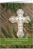 Ordination Invitation, Cross and Palms card