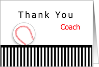 Baseball Coach Thank You, Baseball, Stripes card