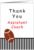 For Assistant Football Coach Thank You Card-Football, Black Stripes card