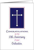 Silver Jubilee Greeting Card-Cross-25th Anniversary of Religious Life card