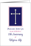Silver Jubilee Invitation, Cross, 25th Anniversary of Religious Life card