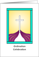 Ordination Party Invitation with Cross and Purple Cloth Design card