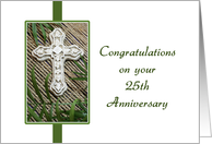 25th Anniversary of Religious Life-Silver Jubilee-Cross-Greeting Card