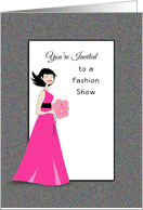Fashion Show Invitation-Retro Girl-Bouquet of Flower-Pink Dress card