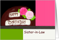 Sister-in-Law, Happy Birthday, Cake card