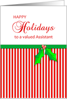 For Assistant-Business Christmas Greeting Card-Happy Holidays-Holly card