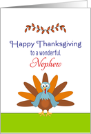 For Nephew Thanksgiving Greeting Card-Turkey & Leaf Design card